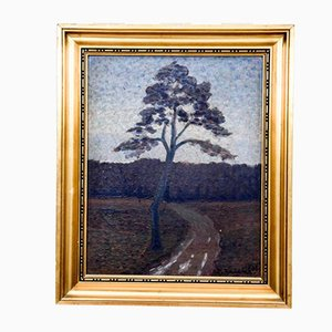Scandinavian Tree by the Road Painting, 1930s