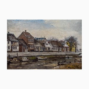 Scandinavian Port Town Painting, 1930s