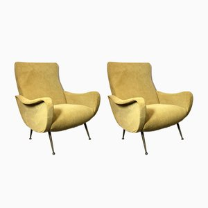 Italian Lounge Chairs in the Style of Marco Zanuso, 1960s, Set of 2
