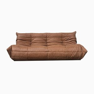Vintage 3-Seater Cognac Leather Togo Sofa by Michel Ducaroy for Ligne Roset