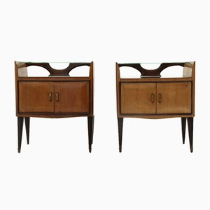 Nightstands with Glass Shelves, 1950s, Set of 2