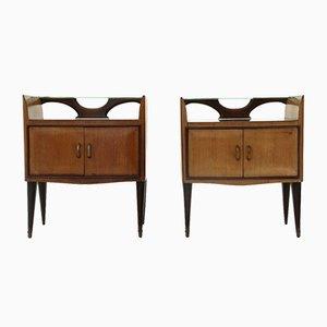 Tables de Chevet avec Etagères en Verre, 1950s, Set de 2