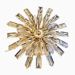 Applique a forma di sole in vetro dorato di Venini, anni '80