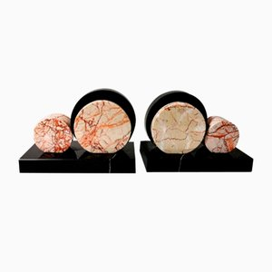 Art Deco French Marble Bookends, 1920s, Set of 2