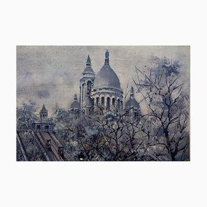 French Paris Montmartre Painting, 1930s