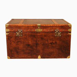 Vintage English Leather Travel Chest