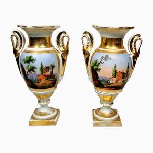 Handbemalte französische Napoleon III Porzellanvasen von Porcelain de Paris, 2er Set