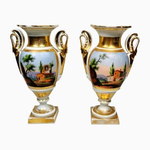 Napoleon III French Hand Painted Porcelain Vases from Porcelain de Paris, Set of 2