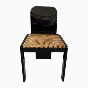 Sedie da pranzo Mid-Century in legno nero, vimini e placcate in cromo, Italia, anni '70, set di 6