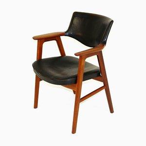 Sedia da scrivania in pelle e teak di Erik Kirkegaard, Svezia, anni '60