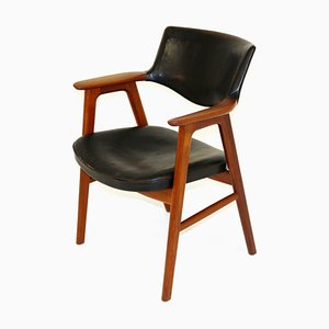 Swedish Leather and Teak Desk Chair by Erik Kirkegaard, 1960s