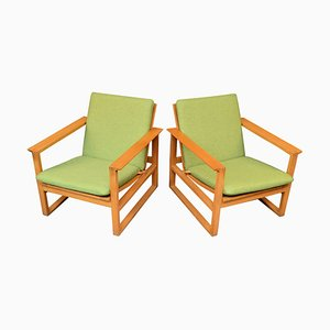 Mid-Century Danish Oak Model 2256 Lounge Chairs by Børge Mogensen for Fredericia, Set of 2
