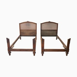 Antique Carved Walnut and Wicker Single Beds, Set of 2