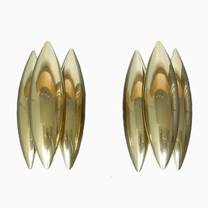 Mid-Century Danish Brass Kastor Sconces by Johannes Hammerborg for Fog & Mørup, Set of 2