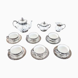 Ceramic Hand Painted Silver Tea Set from Richard Ginori, 1950s