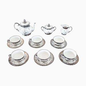 Juego de té de cerámica pintado a mano de plata de Richard Ginori, años 50