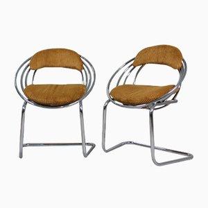 Chaises de Salon Cantilever en Acier Tubulaire et Velours, 1970s, Set de 6
