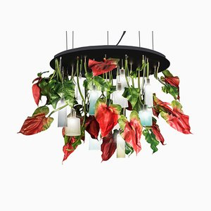 Small Flower Power Round Anthurium Chandelier with Mun Glass Lamps from Vgnewtrend