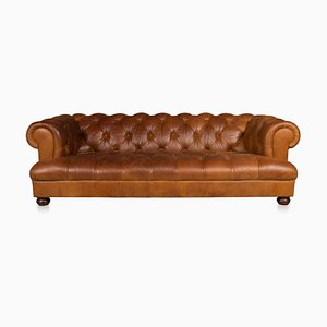 Vintage 3-Seater Chesterfield Leather Sofa with Button Down Seat
