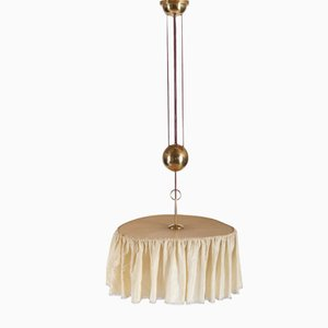 Brass and Silk Ceiling Light by A. Loos