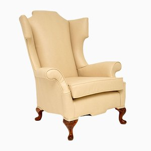 Antique William & Mary Style Vegan Leather Wing Back Armchair