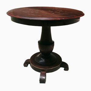 Antique Italian Round Walnut Dining Table, 1800s