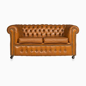 Vintage Miniature Chesterfield Leather Sofa, 1920s