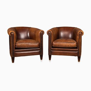 Vintage Dutch Sheepskin Leather Tub Chairs, Set of 2