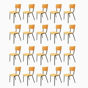 Mid-Century Italian Beech Stacking Desk Chairs, 1960s, Set of 20