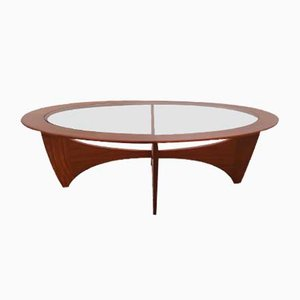 Oval Teak Astro Coffee Table with Glass Top by Victor Wilkins for G-Plan, 1960s