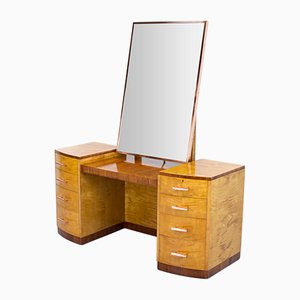 Vintage Art Deco Sycamore, Rosewood and Copper Dressing Table