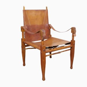 Vintage Swiss Leather Safari Armchair by Wilhelm Kienzle for Wohnbedarf, 1960s