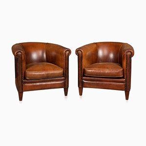 Sedie vintage in pelle di pecora, set di 2