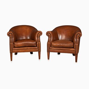 Vintage Dutch Sheepskin Leather Tub Chairs, 1980s, Set of 2