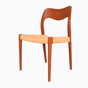 Teak and Paper Cord Model 71 Dining Chairs by Niels Otto Møller for Møller Møbelfabrik, 1960s, Set of 4