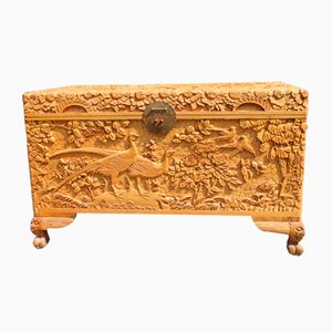 Vintage Hand Carved Maple Chest Trunk with Peacocks Birds and Lotus Flower, 1940s