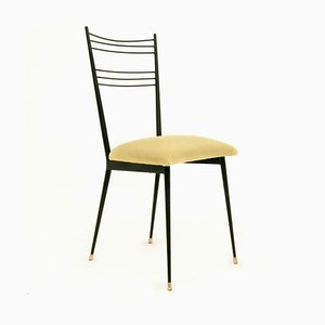 French Black Metal and Yellow Fabric Side Chair by Colette Gueden, 1950s
