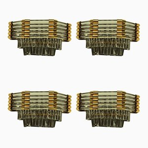 Italian Brass and Glass Sconces, 1960s, Set of 4