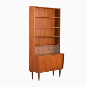 Danish Teak Bookcase with Bar Compartment Attributed to Johannes Sorth, 1960s