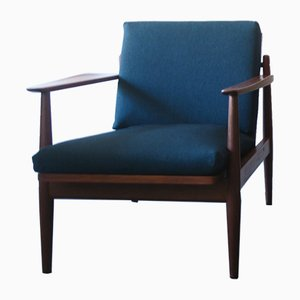 Mid-Century Danish Teak and Sea Blue Green Fabric Lounge Chair