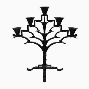 Antiker Art Deco Kerzenhalter aus Eisen im Stil von Koloman Moser