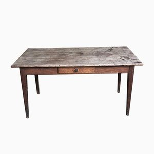 Antique French Farmhouse Kitchen Dining Table with Chestnut Top