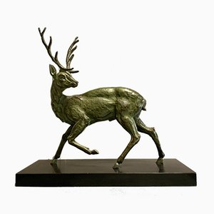 Large Turning Deer Sculpture by Jacques Limousin