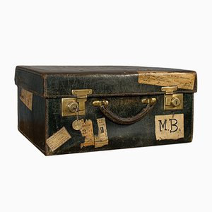 Antique Edwardian Leather Travel Trunk from J.W. Allen