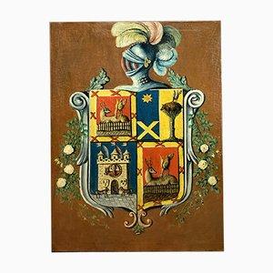 19th Century Spanish Estamos Espana Coat of Arms with Helmet Painting