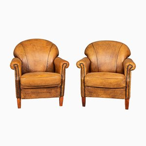 Dutch Sheepskin Leather Club Chairs, 1980s, Set of 2