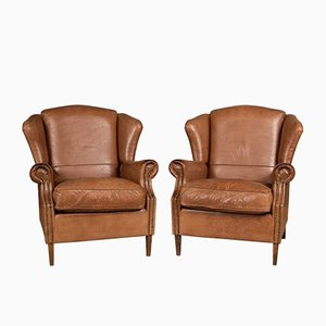 Dutch Leather Wing Back Armchairs, 1980s, Set of 2