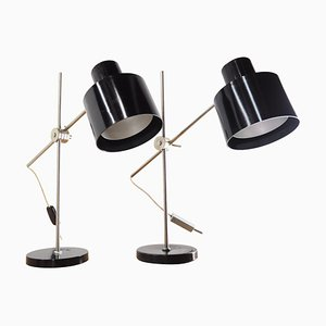 Industrielle Tischlampen aus Schwarzem Bakelit, Tschechoslowakei, 1970er, 2er Set