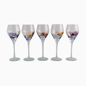 Bicchieri da vino grandi Papillon Casa bocca soffiati di Tiffany & Co., anni '80, set di 5