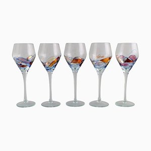 Large Mouth-Blown Papillon Casa Grande Wine Glasses from Tiffany & Co., 1980s, Set of 5